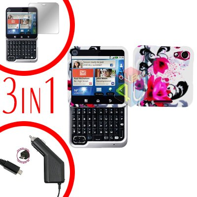 For Motorola Flipout MB511 Screen +Car Charger + Cover Hard Case W-Flower 3-in-1