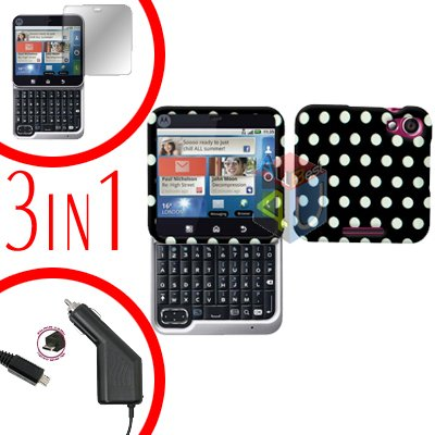 For Motorola Flipout MB511 Screen +Car Charger + Cover Hard Case Polka Dot 3-in-1