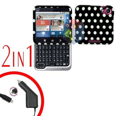 For Motorola Flipout MB511 Car Charger + Cover Hard Case Polka Dot 2-in-1