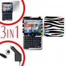 For Motorola Flipout MB511 Screen +Car Charger + Cover Hard Case Zebra 3-in-1