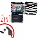 For Motorola Flipout MB511 Car Charger + Cover Hard Case Zebra 2-in-1