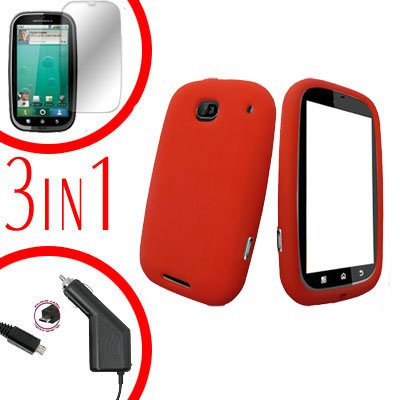 For Motorola Bravo MB520 Screen +Car Charger + Cover Silicon Case Red 3-in-1