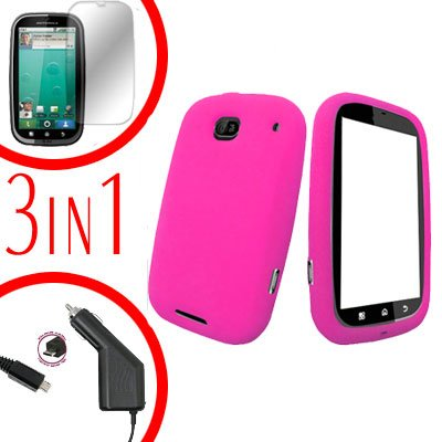 For Motorola Bravo MB520 Screen +Car Charger + Cover Silicon Case Hot Pink 3-in-1