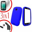 For Motorola Bravo MB520 Screen +Car Charger + Cover Silicon Case Blue 3-in-1