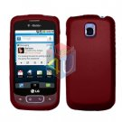 For LG Optimus One P500 Cover Hard Case Rubberized Red