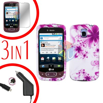 For LG Optimus One P500 Screen +Car Charger +Cover Hard Case H-Flower 3-in-1