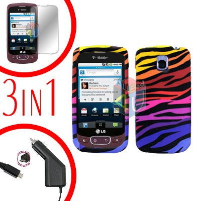 For LG Optimus One P500 Screen +Car Charger +Cover Hard Case C-Zebra 3-in-1