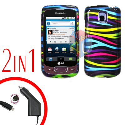 For LG Optimus One P500 Car Charger +Cover Hard Case Rainbow 2-in-1