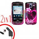 For LG Optimus One P500 Car Charger +Cover Hard Case Love 2-in-1