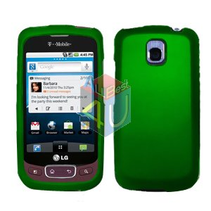 For LG Optimus One P500 Cover Hard Case Rubberized Green