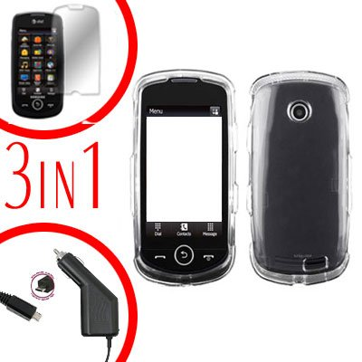 For Samsung Solstice II 2 A817 Screen +Car Charger +Cover Hard Case Clear 3-in-1