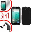 For Motorola Bravo MB520 Screen +Car Charger +Cover Hard Case Rubberized Black 3-in-1