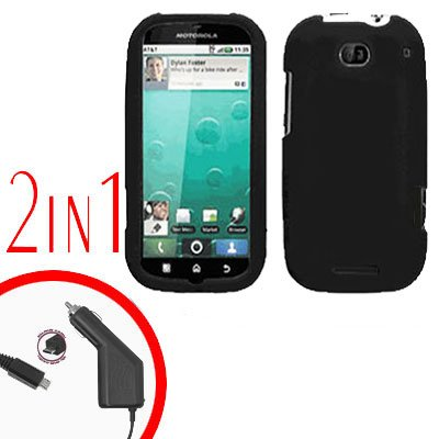 For Motorola Bravo MB520 Car Charger + Cover Hard Case Rubberized Black 2-in-1