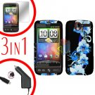 For HTC Desire Screen +Car Charger +Cover Hard Case Flower 3-in-1
