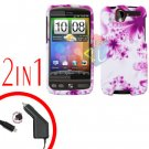 For HTC Desire Car Charger +Cover Hard Case H-Flower 2-in-1