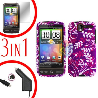 For HTC Desire Screen +Car Charger +Cover Hard Case P-Flower 3-in-1