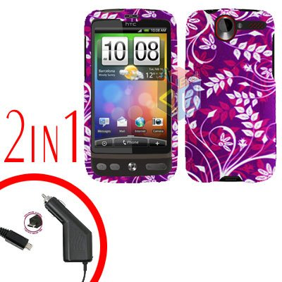 For HTC Desire Car Charger +Cover Hard Case P-Flower 2-in-1
