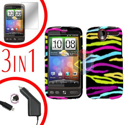 For HTC Desire Screen +Car Charger +Cover Hard Case Rainbow 3-in-1