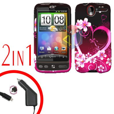 For HTC Desire Car Charger +Cover Hard Case Love 2-in-1