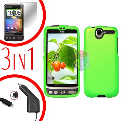 For HTC Desire Screen +Car Charger +Cover Hard Case Rubberized Neon Green 3-in-1
