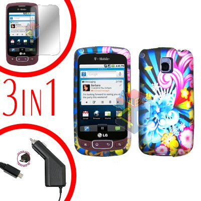 For LG Optimus-T / P509 Screen +Car Charger +Hard Case A-Flower 3-in-1