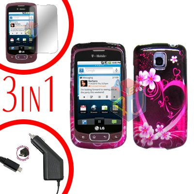 For LG Optimus-T / P509 Screen +Car Charger +Hard Case Love 3-in-1