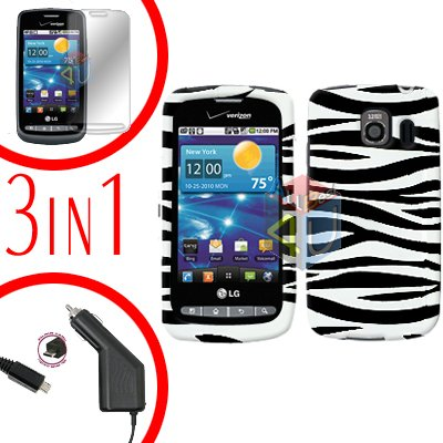 For LG Vortex VS660 Screen +Car Charger +Hard Case Zebra 3-in-1