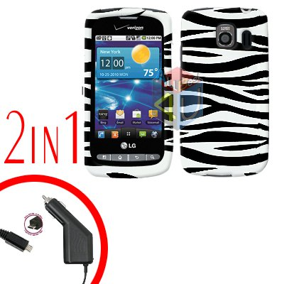 For LG Vortex VS660 Car Charger +Cover Hard Case Zebra 2-in-1