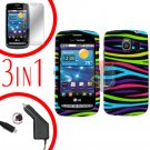 For LG Vortex VS660 Screen +Car Charger +Hard Case Rainbow 3-in-1