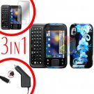 For Motorola Flipside MB508 Screen +Car Charger +Cover Hard Case Flower 3-in-1