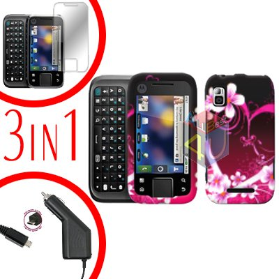 For Motorola Flipside MB508 Screen +Car Charger +Cover Hard Case Love 3-in-1