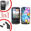 For Motorola Droid Pro A957 Screen +Car Charger +Hard Case A-Flower 3-in-1
