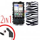 For Motorola Droid Pro A957 Car Charger +Hard Case Zebra 2-in-1