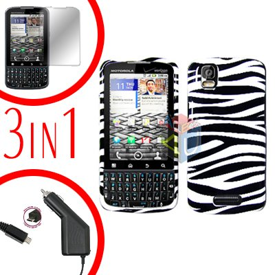 For Motorola Droid Pro A957 Screen +Car Charger +Hard Case Zebra 3-in-1