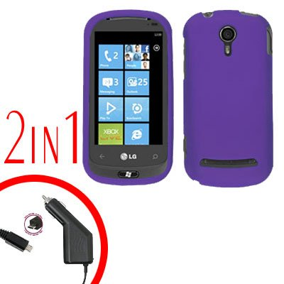 For LG Quantum C900 Car Charger +Cover Hard Case Rubberized Purple 2-in-1
