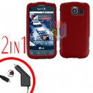 For LG Optimus U US670 Car Charger +Cover Hard Case Rubberized Red 2-in-1