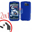 For LG Optimus U US670 Car Charger +Cover Hard Case Rubberized Blue 2-in-1