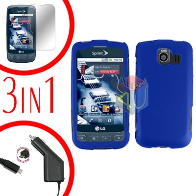 For LG Optimus U US670 Screen +Car Charger +Hard Case Blue 3-in-1