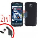 For LG Optimus U US670 Car Charger +Cover Hard Case Rubberized Black 2-in-1