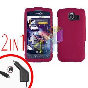 For LG Optimus U US670 Car Charger +Cover Hard Case Rubberized Rose Pink 2-in-1