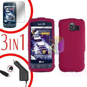For LG Optimus U US670 Screen +Car Charger +Hard Case Rose PInk 3-in-1