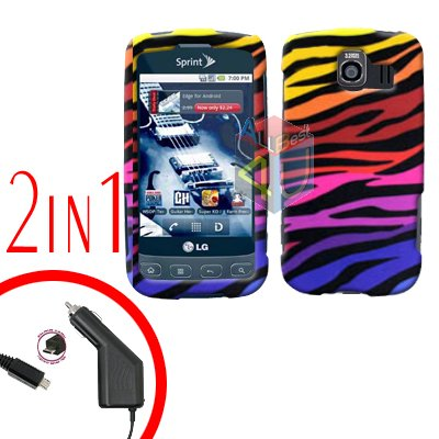 For LG Optimus U US670 Car Charger +Cover Hard Case C-Zebra 2-in-1