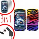 For LG Optimus U US670 Screen +Car Charger +Hard Case C-Zebra 3-in-1