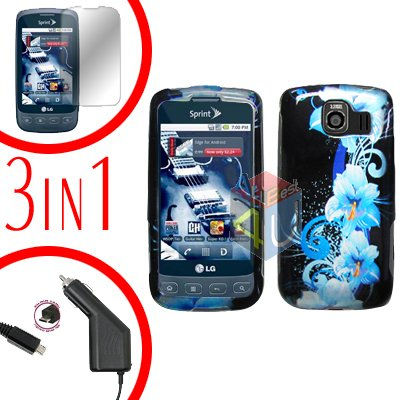 For LG Optimus U US670 Screen +Car Charger +Hard Case Flower 3-in-1