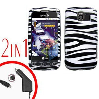 For LG Optimus U US670 Car Charger +Cover Hard Case Zebra 2-in-1