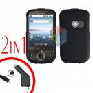 For Huawei Ideos U8150 Car Charger + Cover Hard Case Rubberized Black 2-in-1