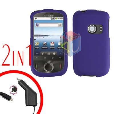 For Huawei Ideos U8150 Car Charger + Cover Hard Case Rubberized Purple 2-in-1
