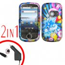 For Huawei Ideos U8150 Car Charger + Cover Hard Case A-Flower 2-in-1