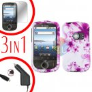 For Huawei Ideos U8150 Screen +Car Charger +Hard Case H-Flower 3-in-1