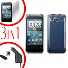 For HTC Evo Shift 4G Screen +Car Charger +Cover Hard Case Transparent Clear 3-in-1